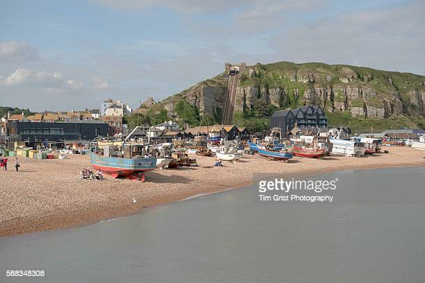 hastings beach, east sussex - hastings stock photos and pictures