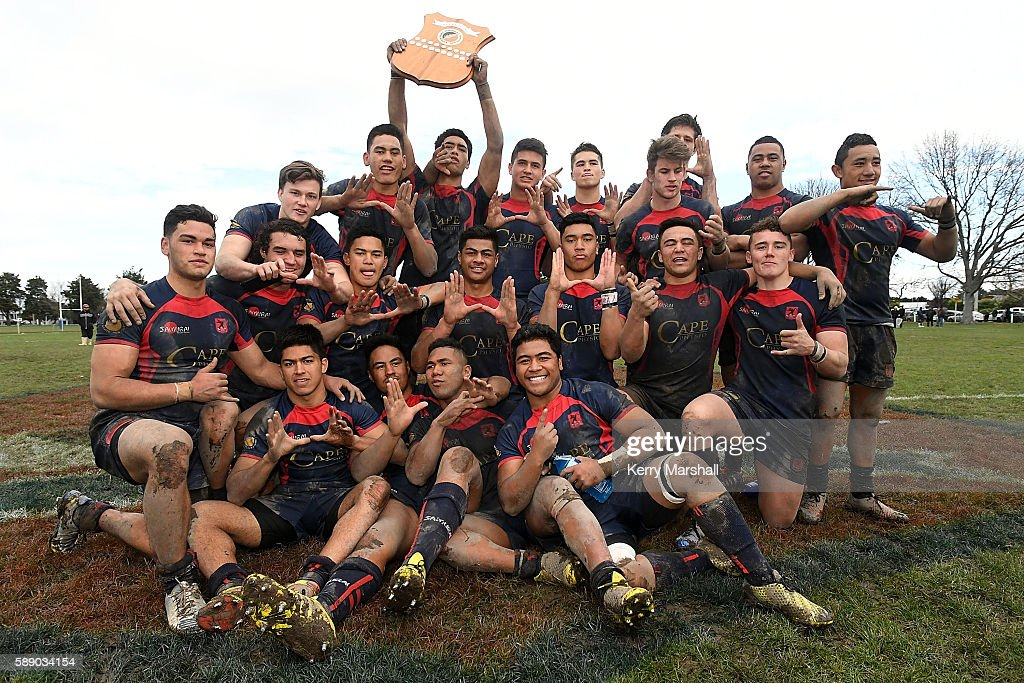 Hastings Boys High School celebrate following their win in the Super Eight 1st XV Final match between Hastings Boys High and Hamilton Boys High at Hastings Boys High on August 13, 2016 in Hastings, New Zealand.