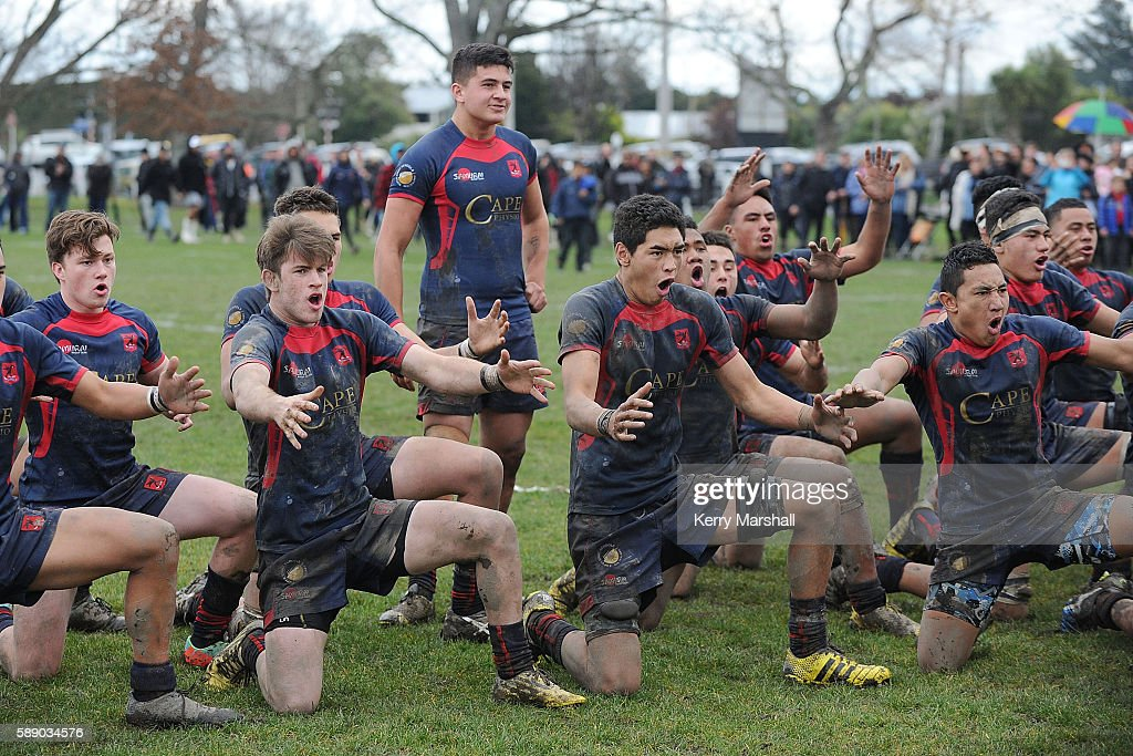 Hastings Boys High School celebrate winning the Super Eight 1st XV Final match between Hastings Boys High and Hamilton Boys High at Hastings Boys High on August 13, 2016 in Hastings, New Zealand.
