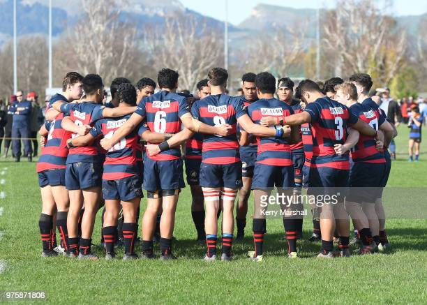 Hastings Boys High School players before the Schools Super 8 match between Hastings Boys High and Napier Boys High at Hastings Boys High School on...