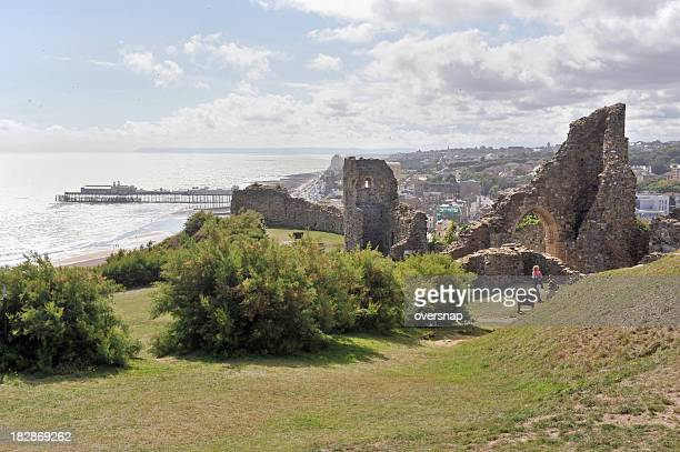 hastings castle - norman conquest stock photos and pictures