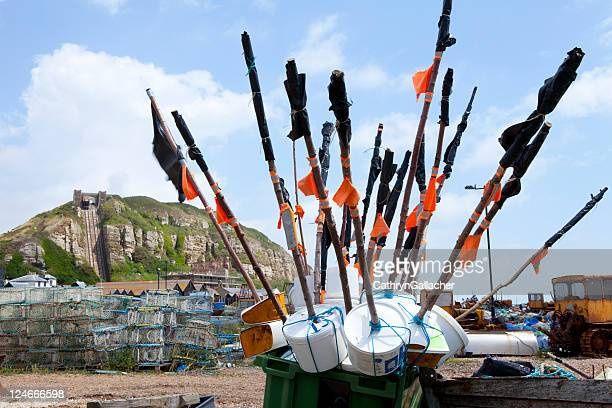 hastings, east sussex - crab pot stock photos and pictures