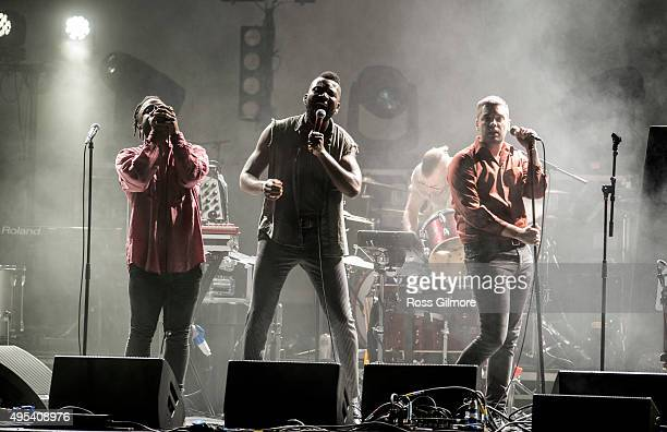 'G' Hastings Kayus Bankole and Alloysious Massaquoi of Young Fathers perform live at the Save the Children's Child Refugee Crisis Appeal concert at...
