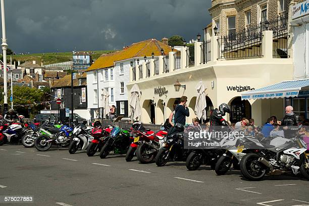 hastings old town motorcyclists - hugh hastings stock pictures, royalty-free photos & images