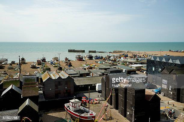 hastings old town net shops - hugh hastings stock pictures, royalty-free photos & images