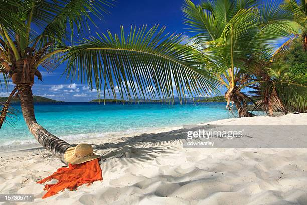hat and sarong under a palm tree on the beach