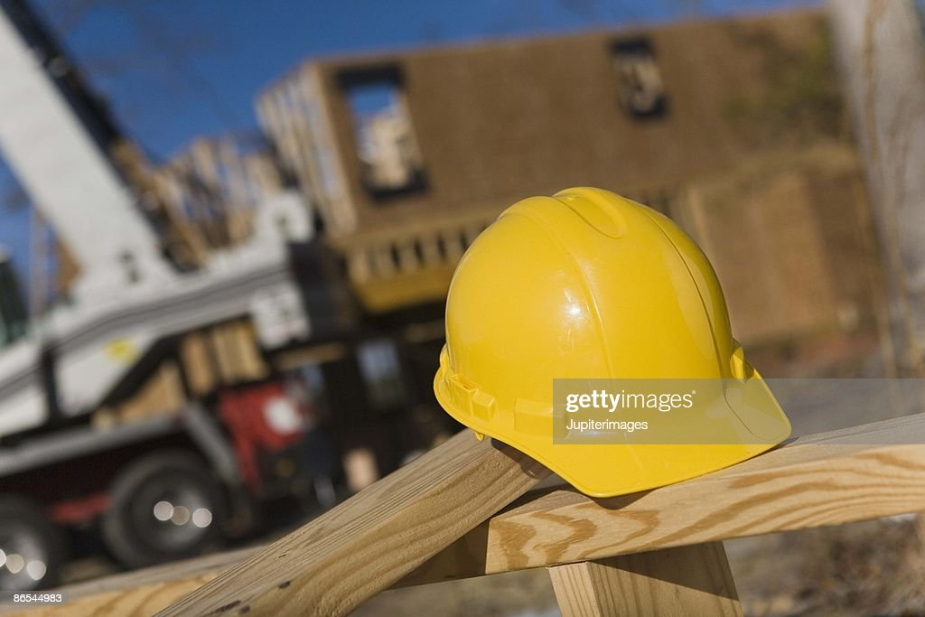 Hat at construction site : Stock Photo