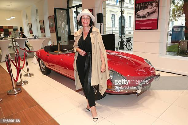 Hat designer Fiona Bennett during the Jaguar Classic Weeks opening event on July 12 2016 in Munich Germany