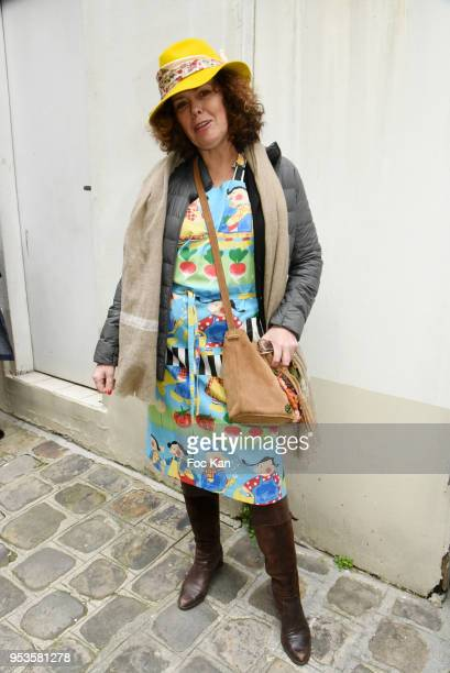 Hat designer Marie Mirabelle Desnos from Mira Belle Chapeaux attends Zelia Van Den Bulke Aprons show At Zelia Abbesses Shop on May 1, 2018 in Paris,...