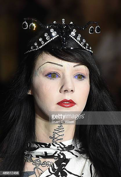 Hat detail during the Ashley Williams show at London Fashion Week Spring/Summer 2016 on September 22 2015 in London England