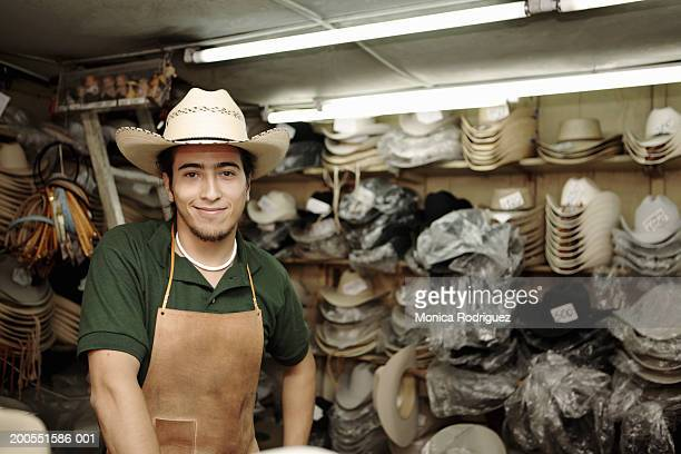 Hat maker smiling, close-up, portrait