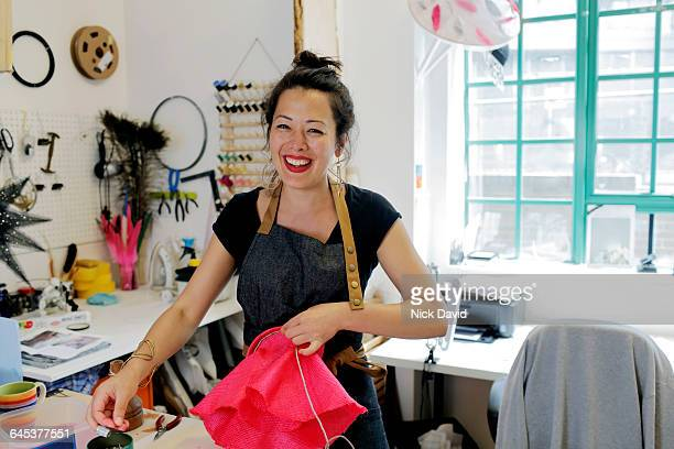 hat maker working in her studio - sewing stock pictures, royalty-free photos & images