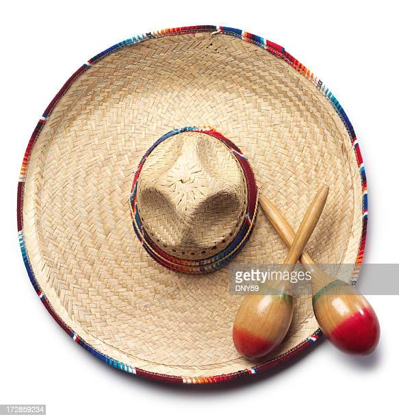 sombrero & maracas - mexican hat stock pictures, royalty-free photos & images
