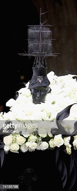 A hat on a mannequin's head adorns the coffin at the funeral service for fashion stylist Isabella Blow at Gloucester Cathedral on May 15 2007 in...