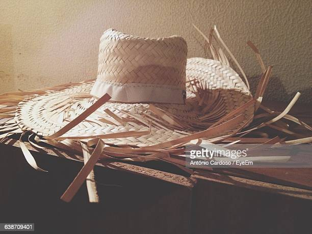 Hat On Table Against Wall At Home