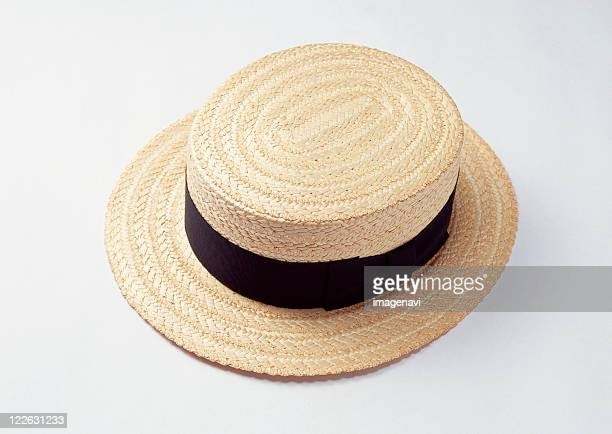 hat - straw boater hat stock pictures, royalty-free photos & images