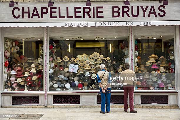 Hat shop Chapellerie Bruyas in Rue des Godrans in the old town in Dijon in the Burgundy region of France