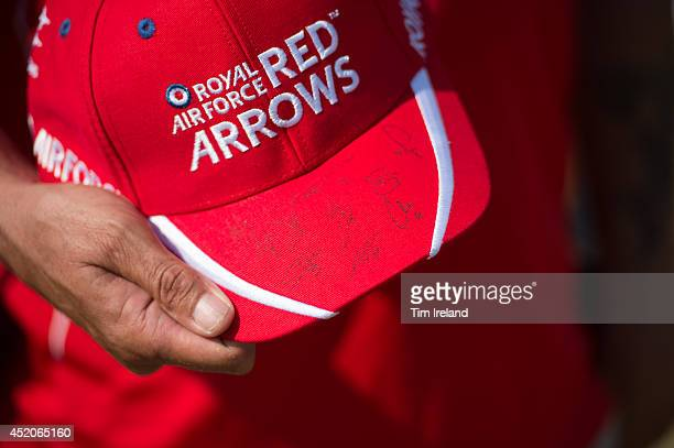 Hat signed by Red Arrows pilots who met the public and signed autographs as part of the celebrations for the their 50th display season during the...