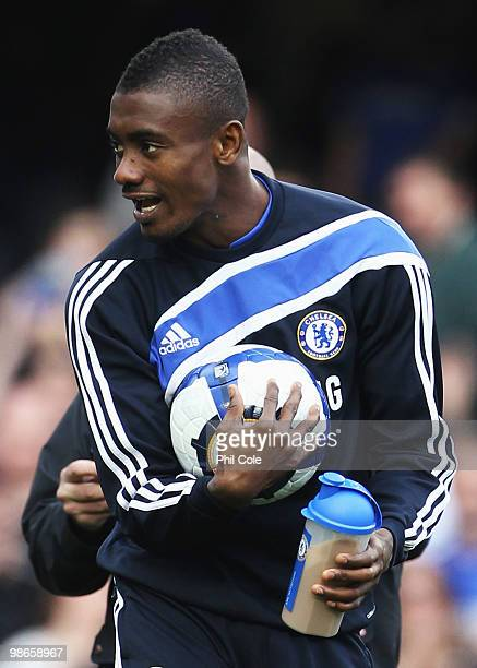 Hat trick hero Salomon Kalou of Chelsea celebrates with the match ball after his three goals during the Barclays Premier League match between Chelsea...