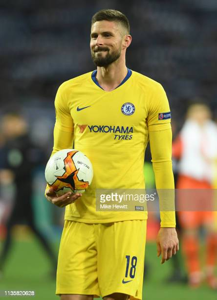 Hat trick scorer Olivier Giroud of Chelsea celebrates with the match ball after the UEFA Europa League Round of 16 Second Leg match between Dynamo...