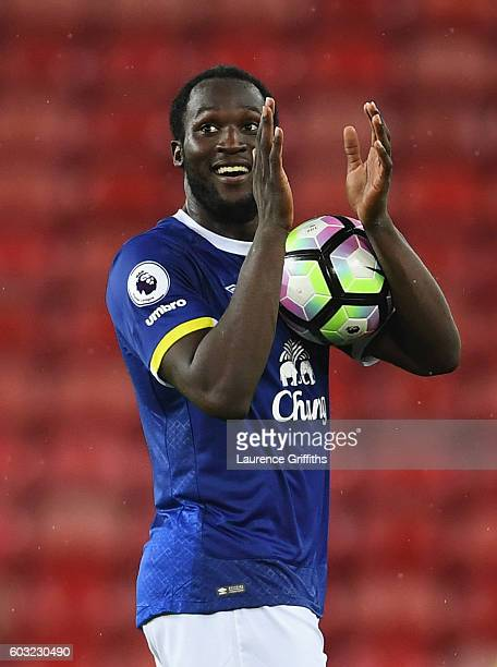 Hat trick scorer Romelu Lukaku of Everton holds the match ball after the Premier League match between Sunderland and Everton at Stadium of Light on...