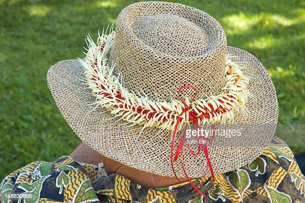 hat with lei. - lei day hawaii stock pictures, royalty-free photos & images