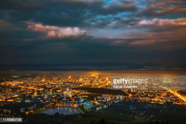 hat yai city twilight landscape - town stock pictures, royalty-free photos & images