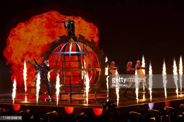 Hatari from Iceland performs during the 64th annual Eurovision Song Contest held at Tel Aviv Fairgrounds on May 14 2019 in Tel Aviv Israel