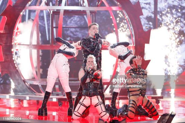 Hatari representing Iceland performs live on stage during the 64th annual Eurovision Song Contest held at Tel Aviv Fairgrounds on May 18 2019 in Tel...