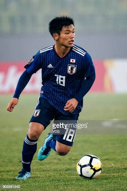Hatate Reo of Japan drives the ball during the AFC U23 Championship Group B match between Japan and North Korea at Jiangyin Stadium on January 16...