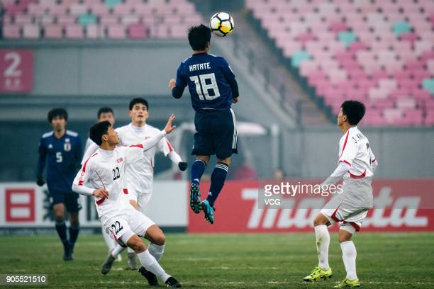 Hatate Reo of Japan heads the ball during the AFC U-23 Championship Group B match between Japan and North Korea at Jiangyin Stadium on January 16,...