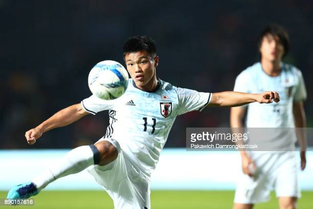 Hatate Reo of Japan U20 volleys the ball during the M150 Cup 2017 between Thailand U23 and Japan U20 at IMobile Stadium on December 9 2017 in Buriram...