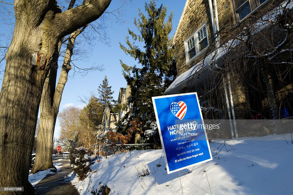 Hate Has No Home Here sign is found in a front yard of a home in Philadelphia, Pennsylvania, on February 9th, 2017. A growing number of similar signs are found in front yards in the liberal and diverse Northwest Philadelphia neighborhood of West Mount Airy.