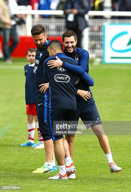 Hatem Ben Arfa and Andre Pierre Gignac have a training session with young players from district of Pyrenee Atlantique during the preparation on the...