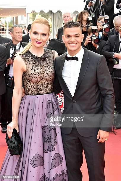 Hatem Ben Arfa and Angela Donava attend the 'Loving' Premiere at the annual 69th Cannes Film Festival at Palais des Festivals on May 16 2016 in...