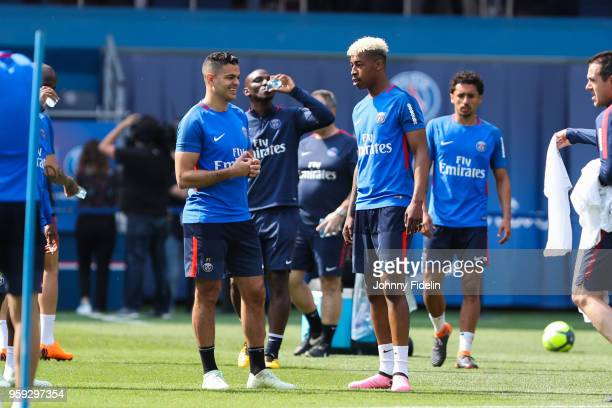 Hatem Ben Arfa and Presnel Kimpembe of PSG during the training session of Paris Saint Germain at Parc des Princes on May 16 2018 in Paris France
