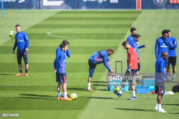 Hatem Ben Arfa and team of PSG during the Paris Saint Germain Training Session at Camp des Loges on May 3 2018 in Paris France