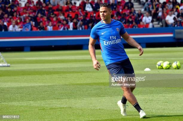 Hatem Ben Arfa in action during a Paris SaintGermain training session at Parc des Princes on May 16 2018 in Paris France
