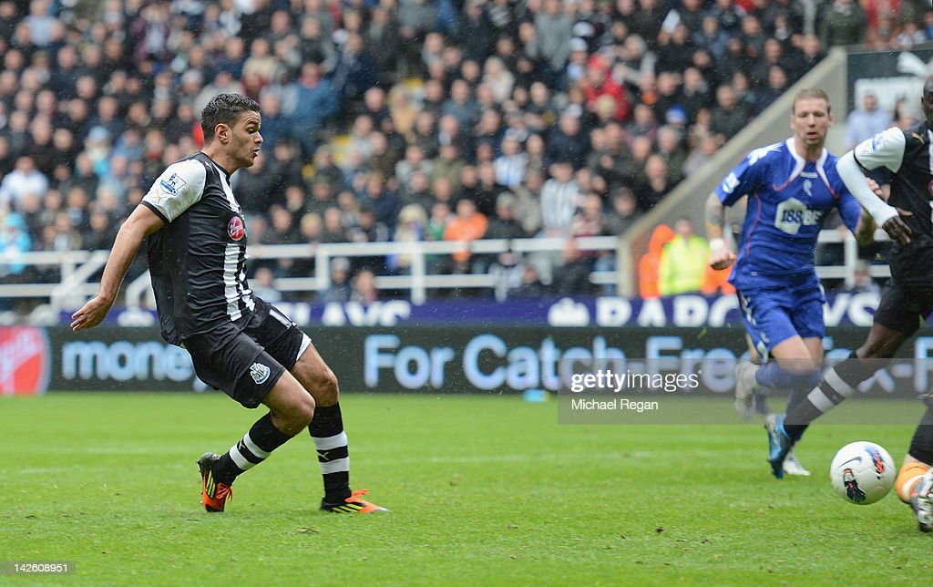 Hatem Ben Arfa of Newcastle scores to make it 1-0 during the Barclays Premier League match between Newcastle United and Bolton Wanderers at the Sports Direct Arena on April 9, 2012 in Newcastle upon Tyne, England.