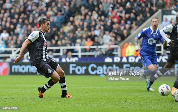 Hatem Ben Arfa of Newcastle scores to make it 10 during the Barclays Premier League match between Newcastle United and Bolton Wanderers at the Sports...