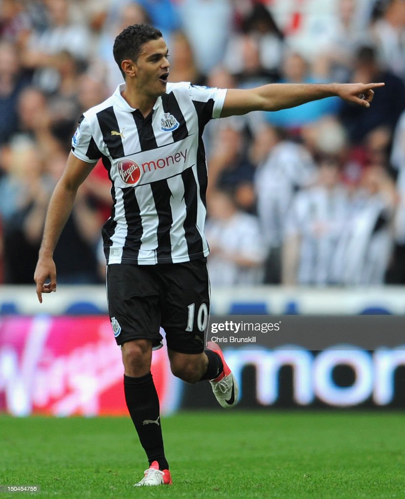 Hatem Ben Arfa of Newcastle United celebrates scoring his team's second goal during the Barclays Premier League match between Newcastle United and Tottenham Hotspur at Sports Direct Arena on August 18, 2012 in Newcastle upon Tyne, England.