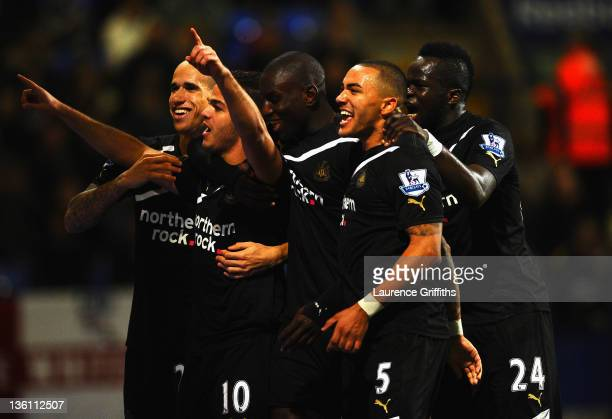 Hatem Ben Arfa of Newcastle United celebrates scoring the first goal during the Barclays Premier League match between Bolton Wanderers and Newcastle...