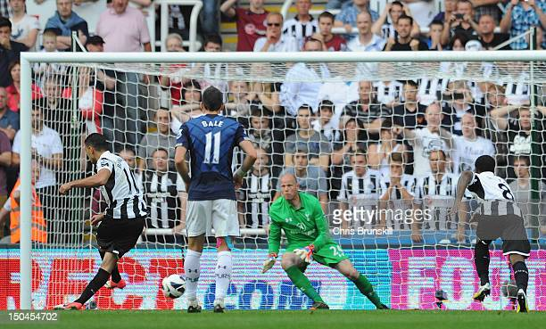 Hatem Ben Arfa of Newcastle United scores his team's second goal from a penalty kick during the Barclays Premier League match between Newcastle...
