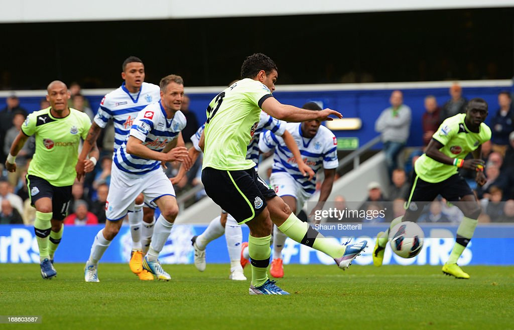 Hatem Ben Arfa of Newcastle United scores their first goal from the penalty spot during the Barclays Premier League match between Queens Park Rangers and Newcastle United at Loftus Road on May 12, 2013 in London, England.