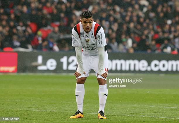 Hatem Ben Arfa of OGC Nice reacts during the French Ligue 1 match between Paris SaintGermain and OGC Nice at Parc des Princes on april 02 2016 in...