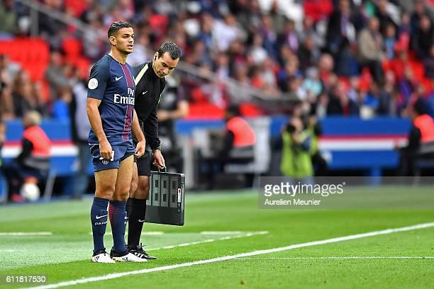 Hatem Ben Arfa of Paris SaintGermain enters during the Ligue 1 match between Paris SaintGermain and FC Girondins de Bordeaux at Parc des Princes on...