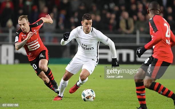 Hatem Ben Arfa of Paris SaintGermain in action during the French Ligue 1 match between Stade de Rennes and Paris SaintGermain at Roazhon Park on...