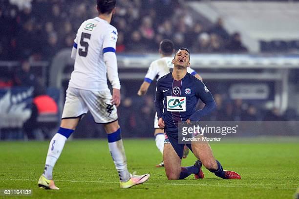 Hatem Ben Arfa of Paris SaintGermain reacts after missing a goal during the French Cup match between Paris SaintGermain and SC Bastia at Parc des...
