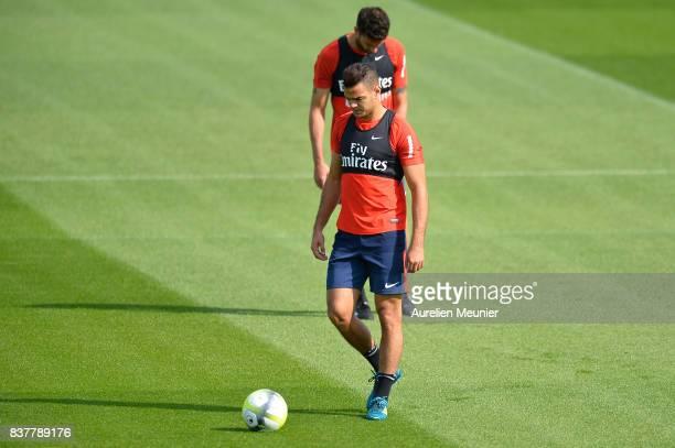 Hatem Ben Arfa of Paris SaintGermain reacts before a Paris SaintGermain training session at Centre Ooredoo on August 23 2017 in SaintGermain en Laye...