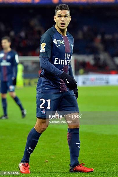 Hatem Ben Arfa of Paris SaintGermain reacts during the French League match between Paris SaintGermain and FC Metz at Parc des Princes on January 11...